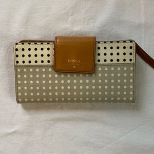 FOSSIL Leather Polka Dot Wallet
